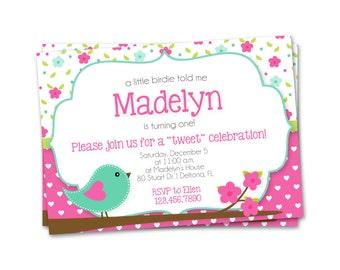 Birthday Invitation, First Birthday Invitation, Girl Birthday Invitation, floral invitation