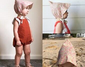 FLORAL BRIMMED BONNET pixie cotton sun hat, baby toddler girl