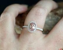 Padparadscha Sapphire Diamond Oval Halo Engagement Ring 2ct 8x6mm 14k 18k White Yellow Rose Gold Platinum Custom made Wedding Anniversary