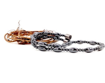 Magnetic Necklace men's women's Therapy Triple POWER Hematite Free Gift Card and organza Bag