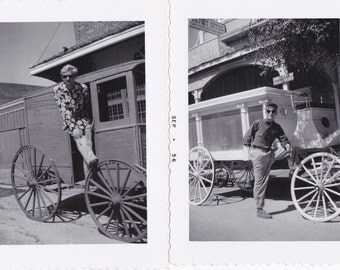 Silver Slipper- 1950s Vintage Photographs- SET of 3- Last Frontier Village- Paradise, Nevada- Las Vegas Casino- Hearse Wagon- Paper Ephemera