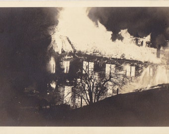 Engulfed in Flames- 1920s Antique Photograph- House Fire- Natural Disaster- Burning Building- Real Photo Postcard- AZO RPPC- Paper Ephemera
