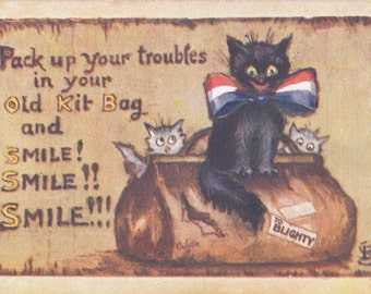 Pack Up Your Troubles In Your Old Kit Bag- 1910s Antique Postcard- Smile, Smile, Smile- WWI Song- Tuck Oilette- B Simpson- Paper Ephemera
