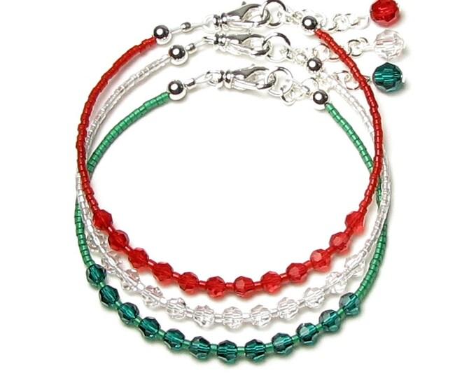 Swarovski Crystal Beaded Christmas Bracelet in Emerald Green Clear Light Siam Red Adjustable Silver Bracelet Set Holiday Gift For Women Teen