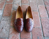 Vintage Mens 9 Santoni Relaxed Slip On Loafers Oxfords Medallion Loafer Woven Unique Preppy Hipster Dress Shoes Italian Cognac Brown Leather