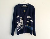 Vintage 1990s NAUTICAL cable knit lighthouse preppy sweater cardigan