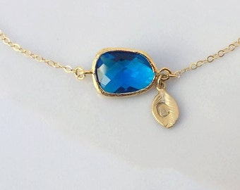 Blue Necklace in Gold. Capri Blue Necklace. Initial Necklace. Name Necklace. Custom Name.Bridesmaid Necklace.Wedding Necklace.Bridal Jewelry