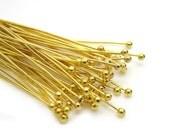 Ball Head Pins : 50 Gold Color Plated Brass Ball Head Pins 50mm x .5mm (1.5mm head) -- X-RP0.5x50mm-G.U