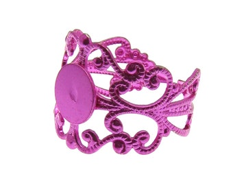 Ring Blank :  1 piece Hot Pink Metallic Adjustable Metal Filigree Ring Component with Glue Pad  -- Lead Free Ring Setting   14359-F7