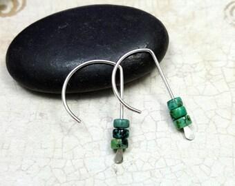 Turquoise Earrings - modern Sterling with Turquoise hoops - geometric hoops - turquoise dangles - December birthstone -  earrings