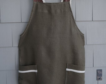 Linen Apron - Japanese Shufu Crossback Pullover