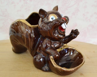 Vintage Squirrel Planter, Dresser Caddy or Nut Holder Made of Redware Pottery