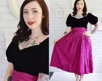 Vintage Black Velvet and Pink Flocked Taffeta Dress by Inner Circle Size XS