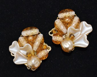 Vintage Clip-On Earrings with Plastic Beads and Amber Rhinestones