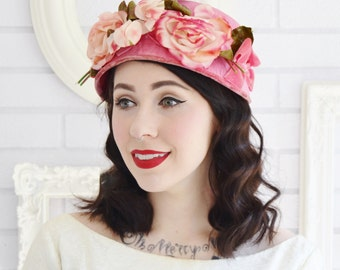 Vintage Pink Hat with Velvet Bows and Fabric Flowers and Leaves