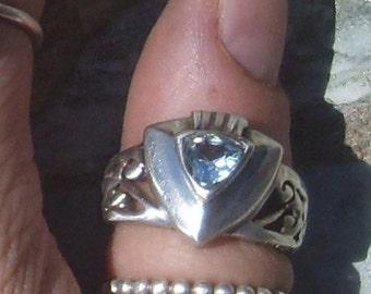 Vintage Blue Topaz  Sterling Silver Ring