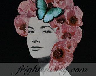 Paper Collage Print, Dark Floral Art, 8.5 x 11 Inches, Unusual Portrait, Pink and Black, Pink Poppies