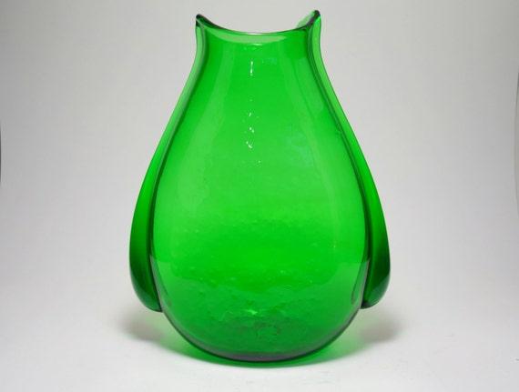 Mid Century Blenko Winslow Anderson Emerald Green Pouch Vase, Blenko Glass, Winslow Anderson, Blenko USA, Blenko Glass Vase, Home Decor