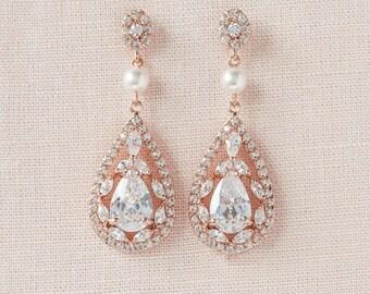 Rose Gold Earrings, Crystal Wedding earrings, Bridal Jewelry, Long Crystal Wedding Earrings, Swarovski, Adison Bridal Earrings
