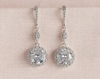 Crystal Bridal earrings  Wedding jewelry,  Rose Gold Crystal Wedding earrings Bridal jewelry, Reese Long Dangle Earrings