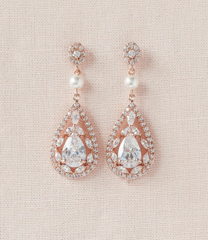 rose gold earrings crystal wedding earrings bridal jewelry. Black Bedroom Furniture Sets. Home Design Ideas