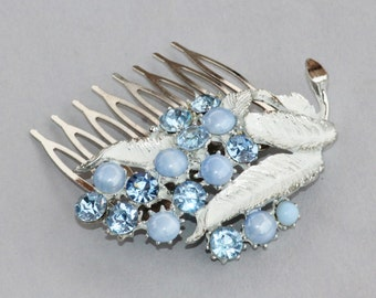 Vintage Enamel Pastel Baby Blue Brooch Hair Comb,Moonstone,Something Old,Upcycled,Eco Couture,Leaf Leaves,Antique,Something Old,Baby Blue