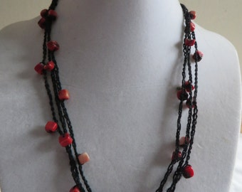 """18 1/4"""" Black and Red Crocheted Necklace on Cotton Cord"""