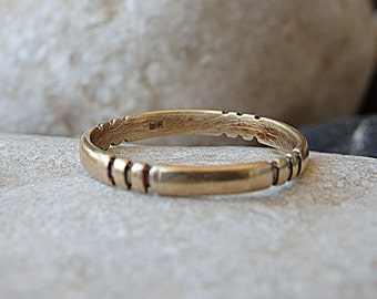 Simple Wedding Band. 14K Solid Gold Ring. Women's Men's Gold Wedding Band for Him Her. Wedding Gold Band Ring. Solid Gold Wedding Band Ring