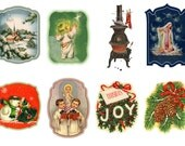 """Large Stickers (each sticker 2.5""""x3.5"""", pack 8 stickers) Scrapbooking Craft Vintage # Christmas Things FLONZ 133"""