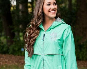 Mint Monogrammed Rain Jacket, Monogrammed Rain Coat, Rain Gear, Personalized Monogrammed Rain Jacket, Women's New Englander Rain Jacket
