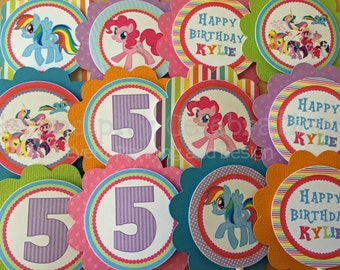 Cupcake Toppers, pretty ponies, pony party, Birthday, pony birthday, Set of 12, Personalized, my little pony, Cupcake picks, pony toppers