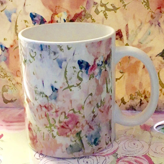 Mug, Shabby Chic Butterflies and Roses with French Script 11 oz and 15 oz