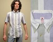 vintage 60s short sleeve button down shirt wide stripe preppy prep trad 1960 menswear medium M slimfit Lindsey tapered tails