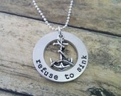 Refuse To Sink - Hand Stamped Washer Necklace with Anchor Charm, Anchor Necklace, Personalized jewelry, Hope anchors the soul
