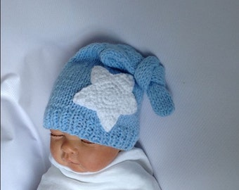Newborn photo prop, blue and white or any color newborn/ baby beanie with a star, newborn hat, newborn boy, newborn girl, knit hat baby