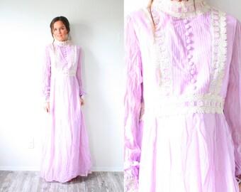 Vintage BOHO Modest purple maxi dress // hippie purple cream lace // long sleeve dress // bohemian goddess dress // festival navajo dress