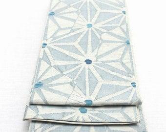 Japanese Obi. Woven Silk. Light Blue Turquoise White Geometric Stars (Ref: 1568)