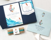 "Nautical Baby Shower Invitations, Customizable, Navy Pocket, Burlap, Gold, Navy, SeaFoam, Watercolor - ""Under The Sea"""