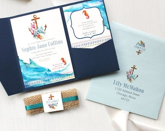 "Nautical Themed Baby Shower Invitations, Customizable, Navy Pocket, Burlap, Gold, Navy, SeaFoam, Watercolor - ""Under The Sea"""