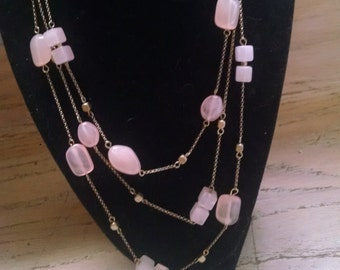 Monet Necklace Pink Faux Quartz Beads Gold Tone Chain 3 Strands Gift Guide Women Vintage Jewelry Jewellery Lucite