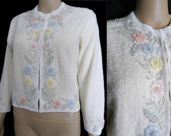 Vintage 1950's Beaded Sweater// Pastel Beads//50s Cardigan//Seed Beads//50s Sweater//Creme