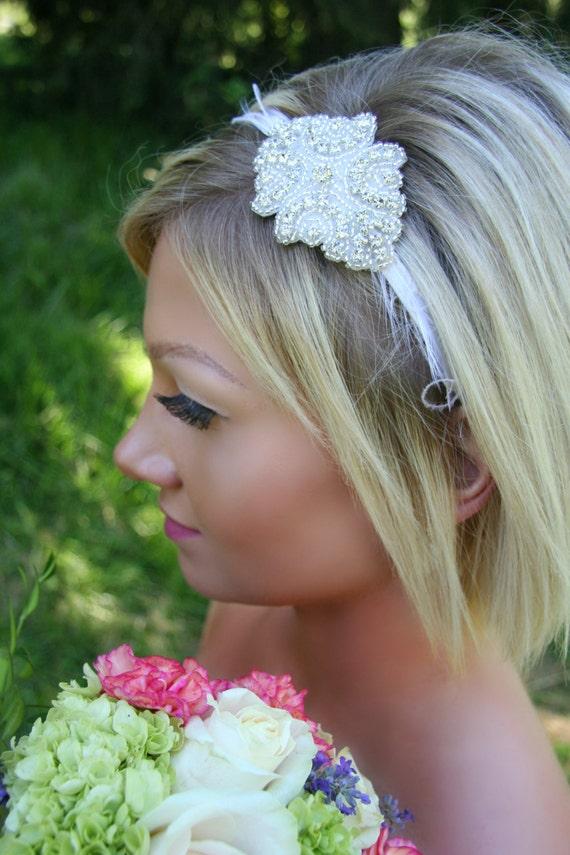Wedding Headpiece, Alayna, Rhinestone Bridal Headband, Feather Headpiece, Bridal Accessories, Wedding Headband, Wedding Hair Piece, Bridal
