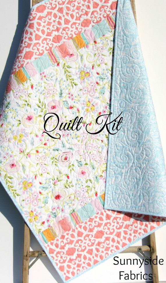 Baby quilt kit diy do it yourself project meadow dena designs baby quilt kit diy do it yourself project meadow dena designs shabby chic cottage baby blue coral pink floral flowers simple easy from solutioingenieria Images