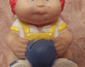1983 Cabbage Patch Kids Vinyl Bank - Orange Hair Boy