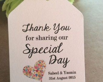 Thank You For Sharing Our Special Day - Personalised Wedding Favour Luggage Tags Labels