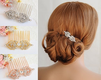 Gold Wedding Hair Comb, Bridal Hair Comb, Crystal Hair Comb, Vintage Style Filigree Hair Jewelry, Hair Pin, Wedding Hair Accessories, GRACE