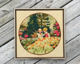 Embroidery Needle Work Wall Hanging Childs Room Kids Room Decor Little Boy Little Girl