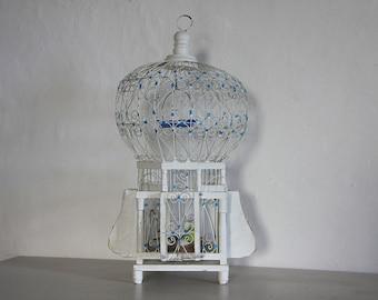 French Vintage Wooden Bird Cage Romantic Birdcage, Garden Decor Wire Work Bird Cage