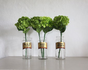 Three Large Antique Apothecary Jar,  Parisian Glass Pharmacy Bottle. Mouth blown. Set of 3