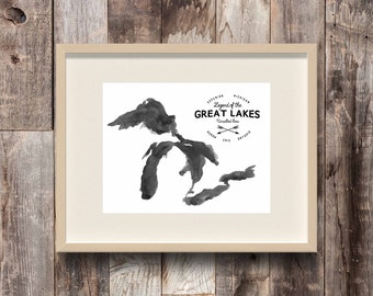 Great Lakes Unsalted Seas - Inland Seas - Michigan - Canada - Midwest - Minnesota - Wisconsin - Watercolor Map - Black & White Art Print